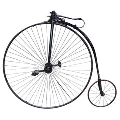 English Victorian High Wheel / Penny-Farthing Bicycle with Leather Seat. C. 1870