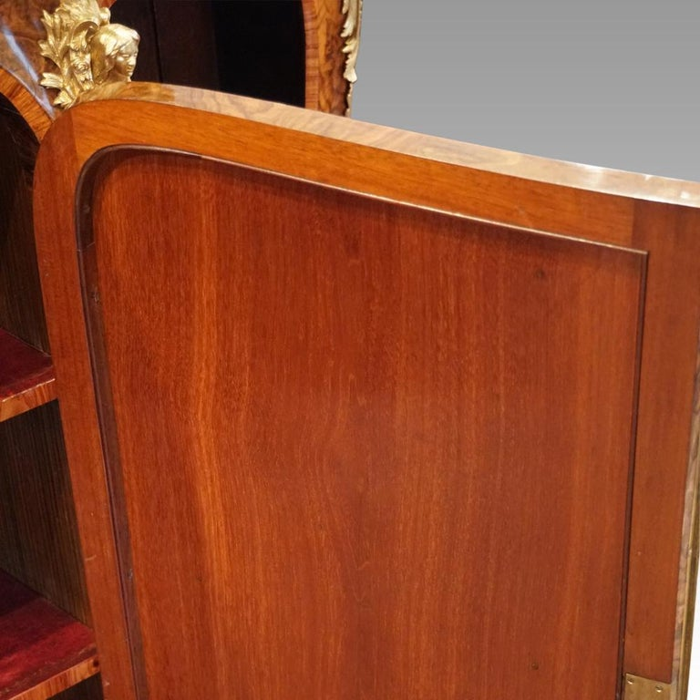 English Victorian Inlaid Burl Walnut Side Cabinet Credenza, circa 1870 For Sale 7