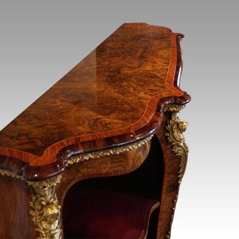 English Victorian Inlaid Burl Walnut Side Cabinet Credenza, circa 1870 For Sale 8