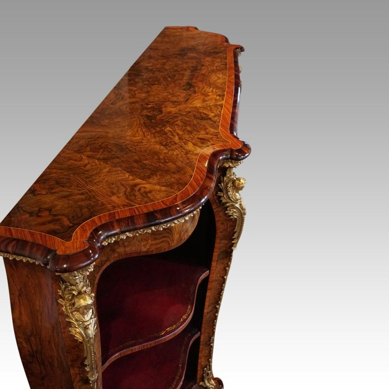 English Victorian Inlaid Burl Walnut Side Cabinet Credenza, circa 1870 For Sale 10