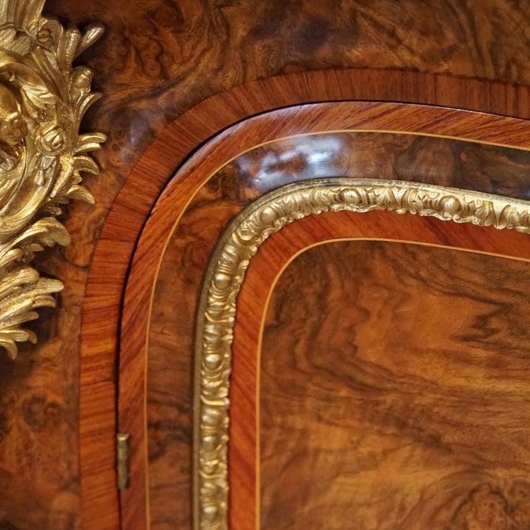 English Victorian Inlaid Burl Walnut Side Cabinet Credenza, circa 1870 For Sale 12