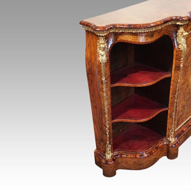 English Victorian Inlaid Burl Walnut Side Cabinet Credenza, circa 1870 For Sale 13