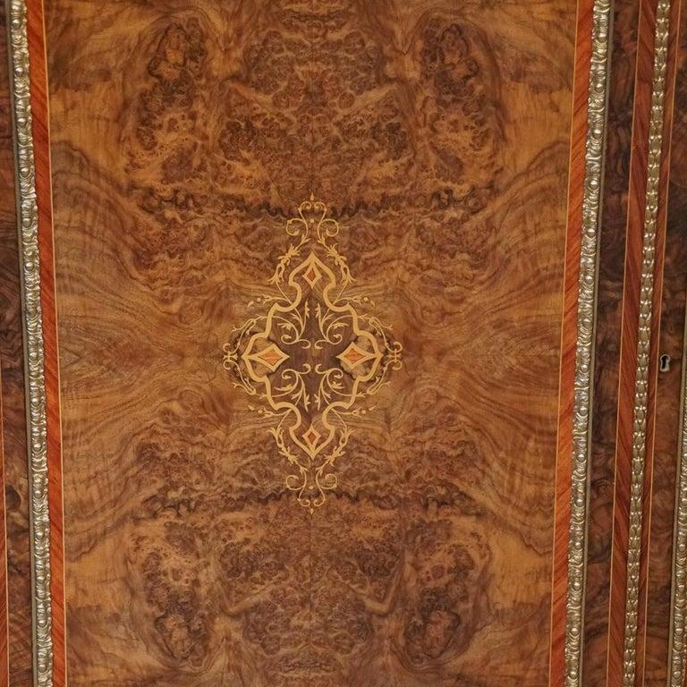 English Victorian Inlaid Burl Walnut Side Cabinet Credenza, circa 1870 For Sale 1