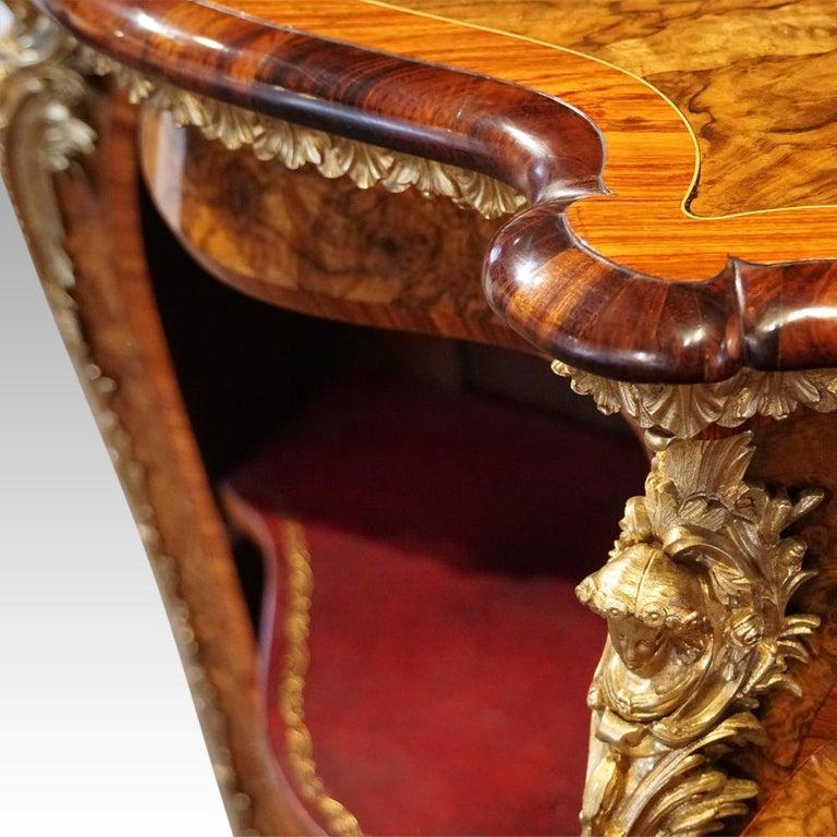 English Victorian Inlaid Burl Walnut Side Cabinet Credenza, circa 1870 For Sale 5
