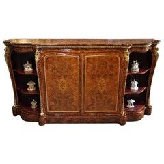 English Victorian Inlaid Burl Walnut Side Cabinet Credenza, circa 1870