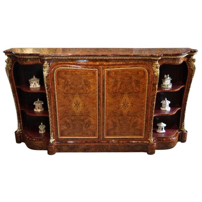 English Victorian Inlaid Burl Walnut Side Cabinet Credenza, circa 1870 For Sale