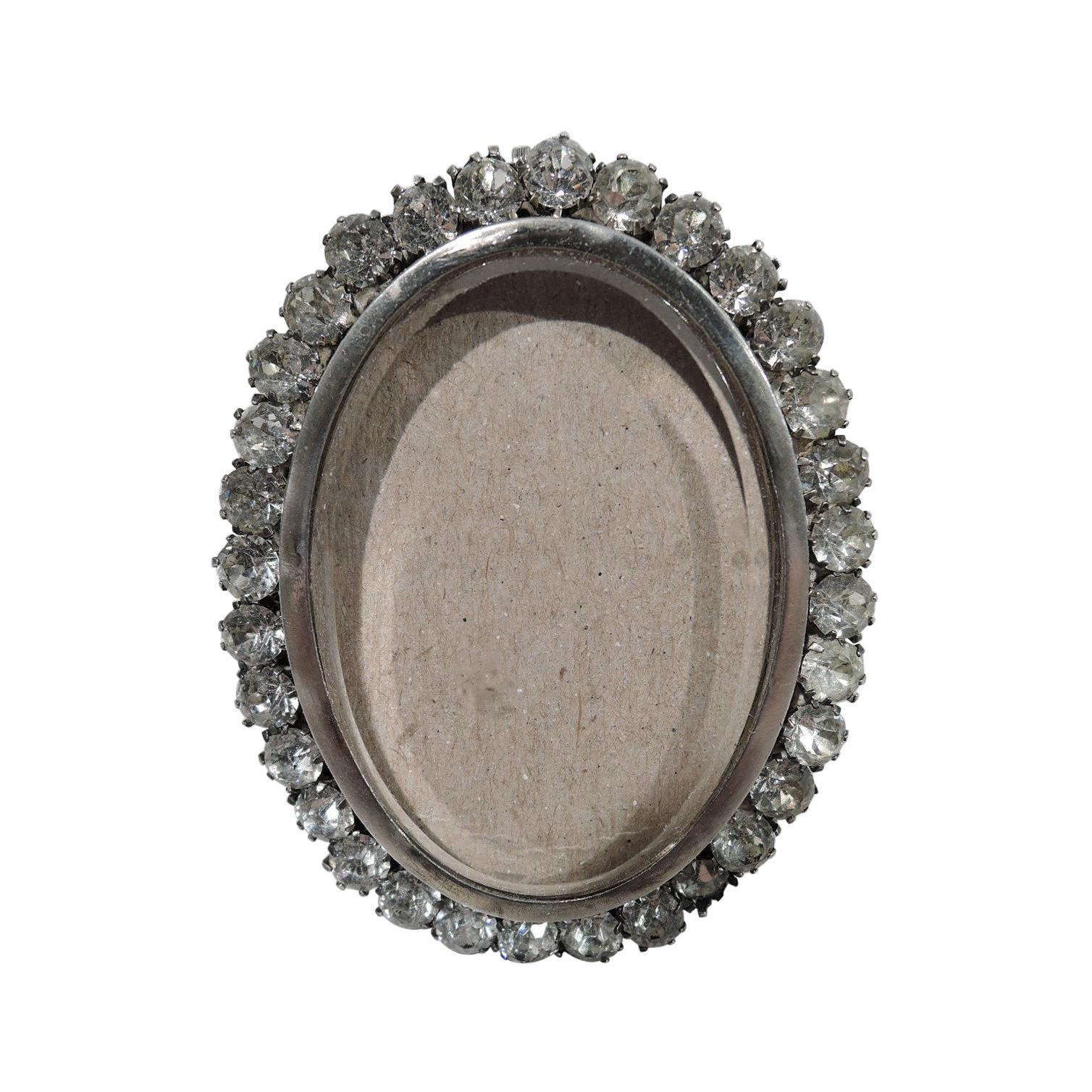 English Victorian Jeweled Sterling Silver Boudoir Picture Frame