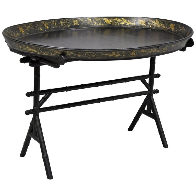 Tray Coffee Table Sale: English Victorian Leather Tole Tray Coffee Table On Faux