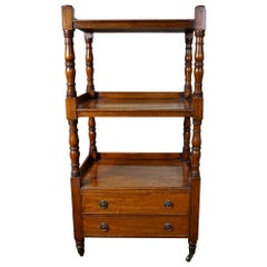 English Victorian Light Mahogany 3-Tier Étagère with Two Drawers