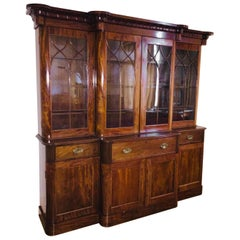 English Victorian Mahogany 19th Display-Bookcase Secretary Breakfront Cabinet