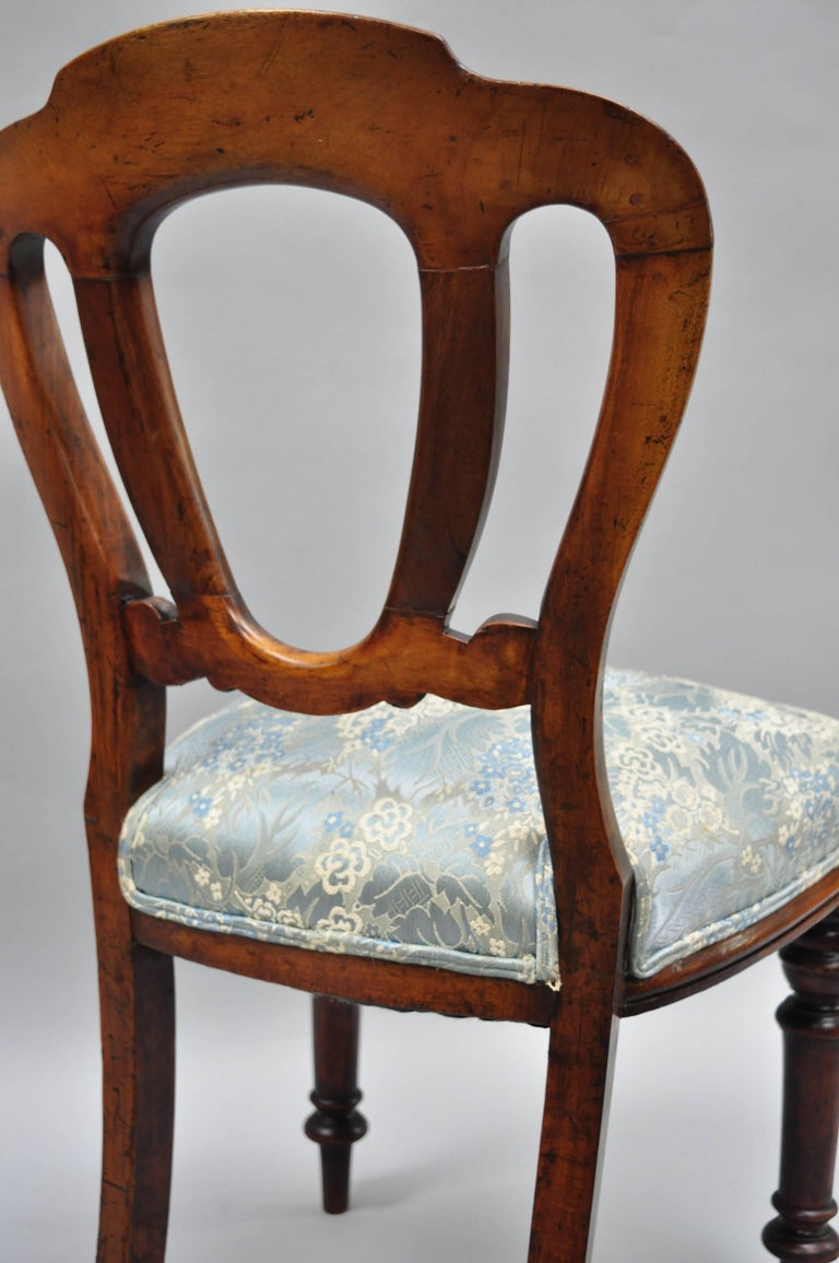 English Victorian Mahogany Balloon Back Dining/Library Side Chairs Set of Four For Sale 6