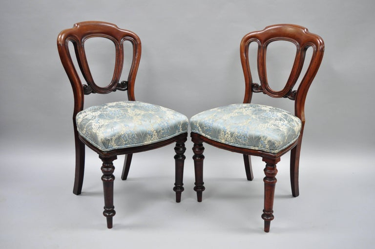 English Victorian Mahogany Balloon Back Dining/Library Side Chairs Set of Four For Sale 9