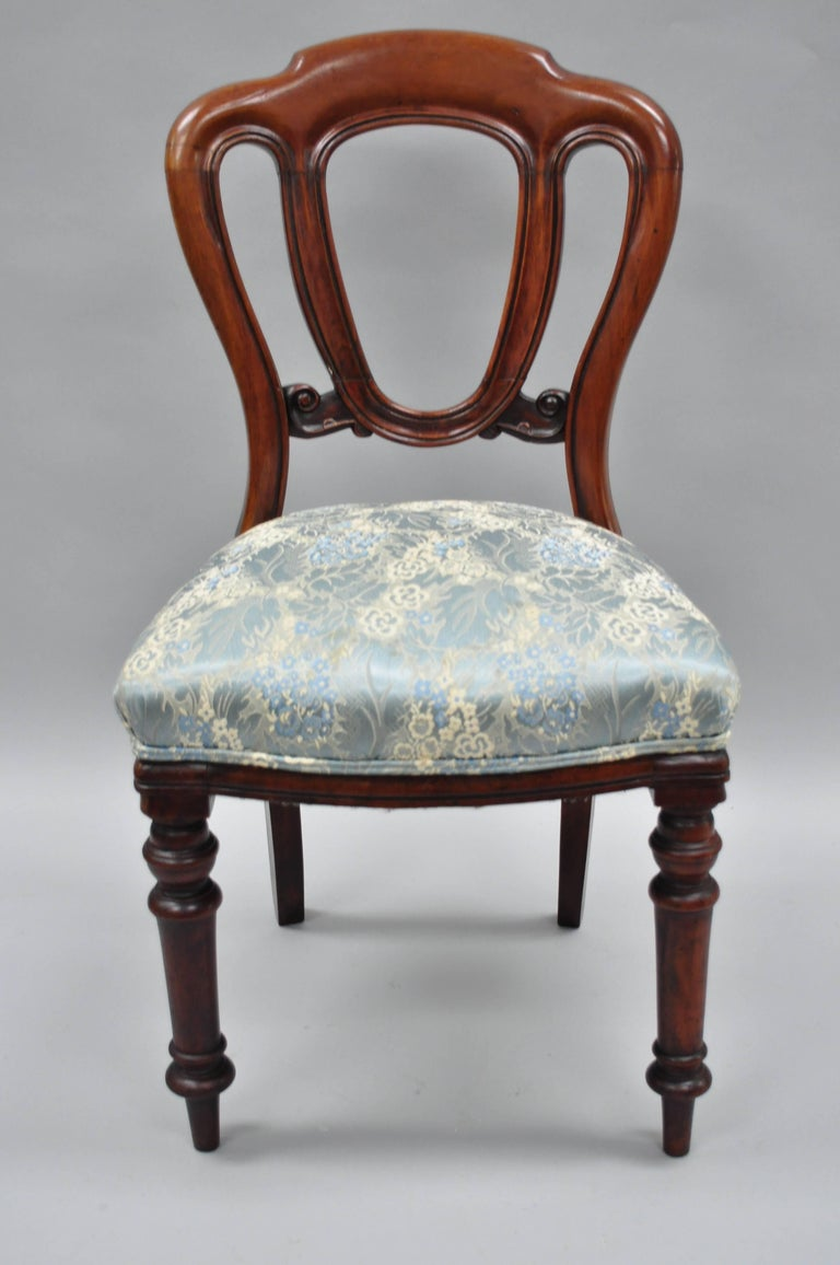 Carved English Victorian Mahogany Balloon Back Dining/Library Side Chairs Set of Four For Sale