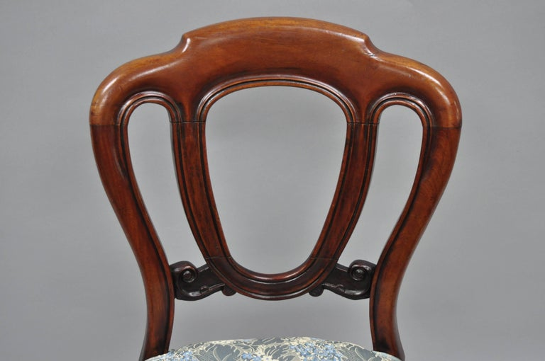 English Victorian Mahogany Balloon Back Dining/Library Side Chairs Set of Four In Good Condition For Sale In Philadelphia, PA