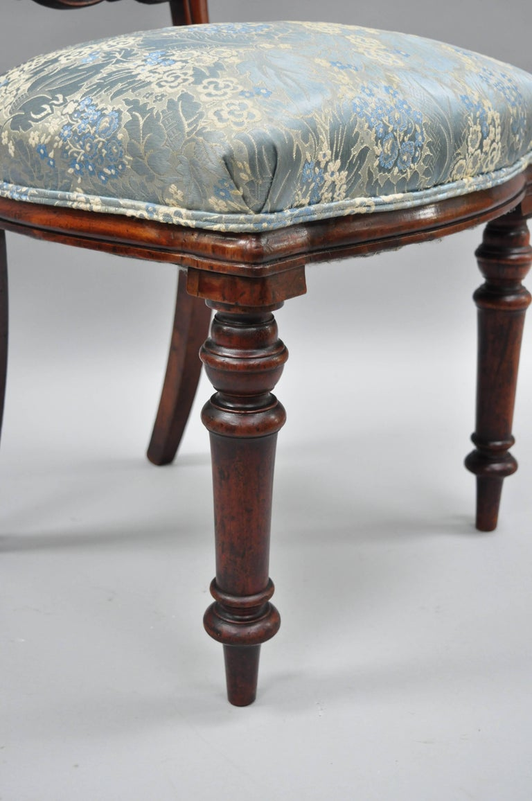 19th Century English Victorian Mahogany Balloon Back Dining/Library Side Chairs Set of Four For Sale