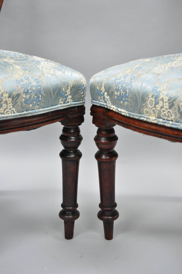 English Victorian Mahogany Balloon Back Dining/Library Side Chairs Set of Four For Sale 1