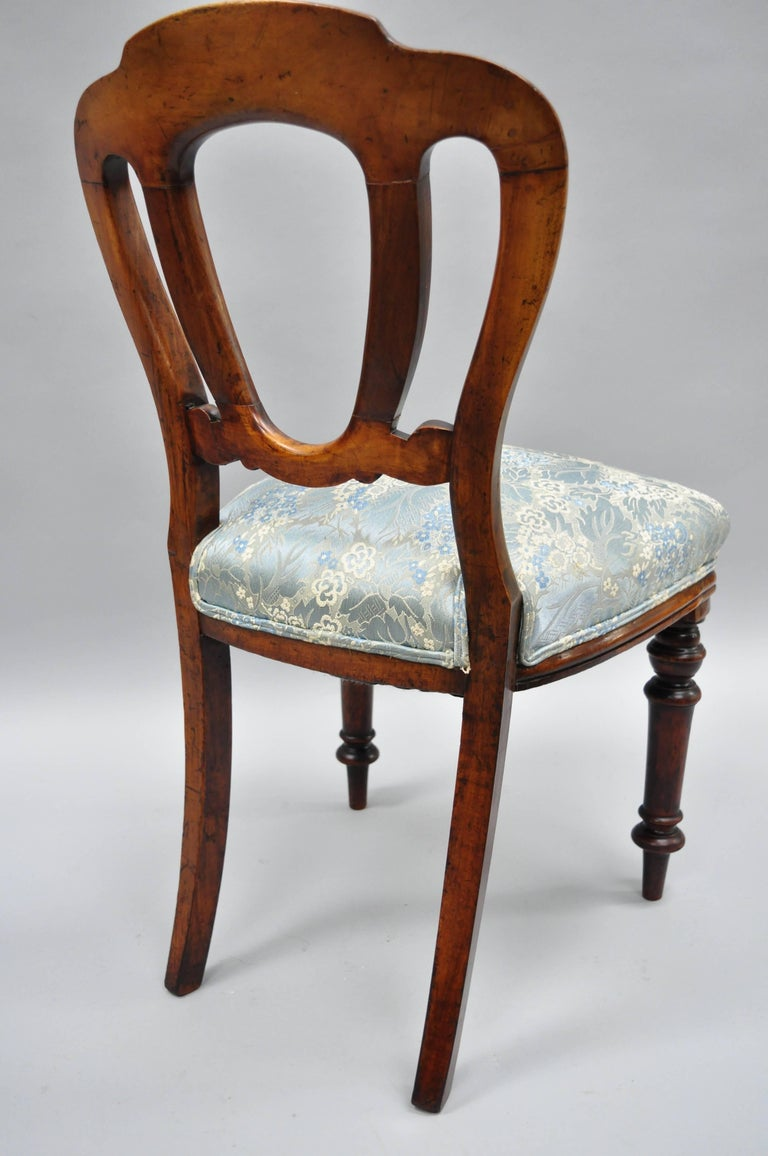 English Victorian Mahogany Balloon Back Dining/Library Side Chairs Set of Four For Sale 2