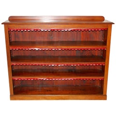 English Victorian Mahogany Bookcase with Adjustable Shelves and Leather Edgings