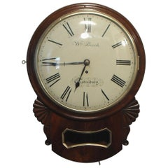 English Victorian Mahogany Drop Dial Wall Clock
