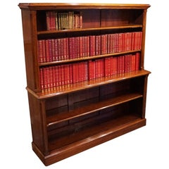 English Victorian Mahogany Library 2 Tier Open Bookcase circa 1875