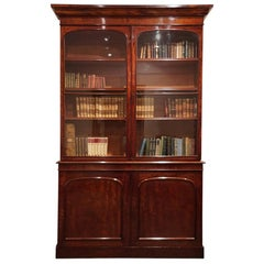 English Victorian mahogany library bookcase, circa 1860