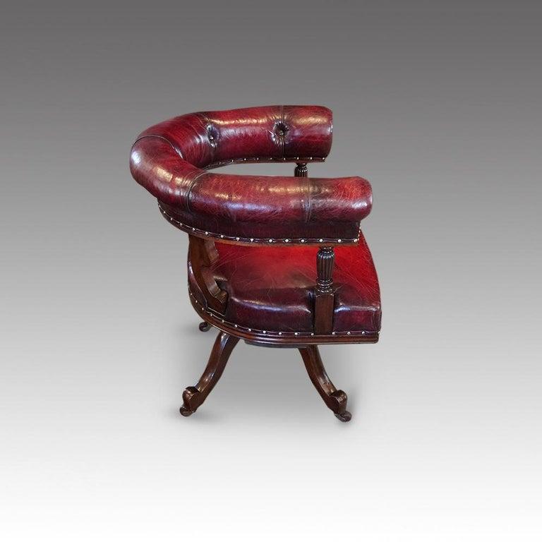 English Victorian Mahogany Swivel Desk Chair by James Shoolbred, circa 1885 3