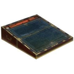 English Victorian Mahogany Writing Slope Desk with J. Bramah Locks, 19th Century