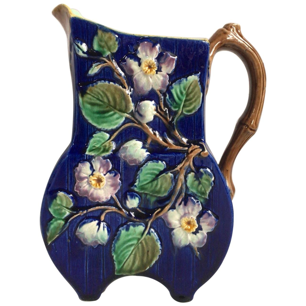 English Victorian Majolica Flowers Pitcher, circa 1890