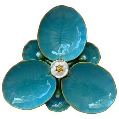 English Victorian Majolica Water Lily Minton