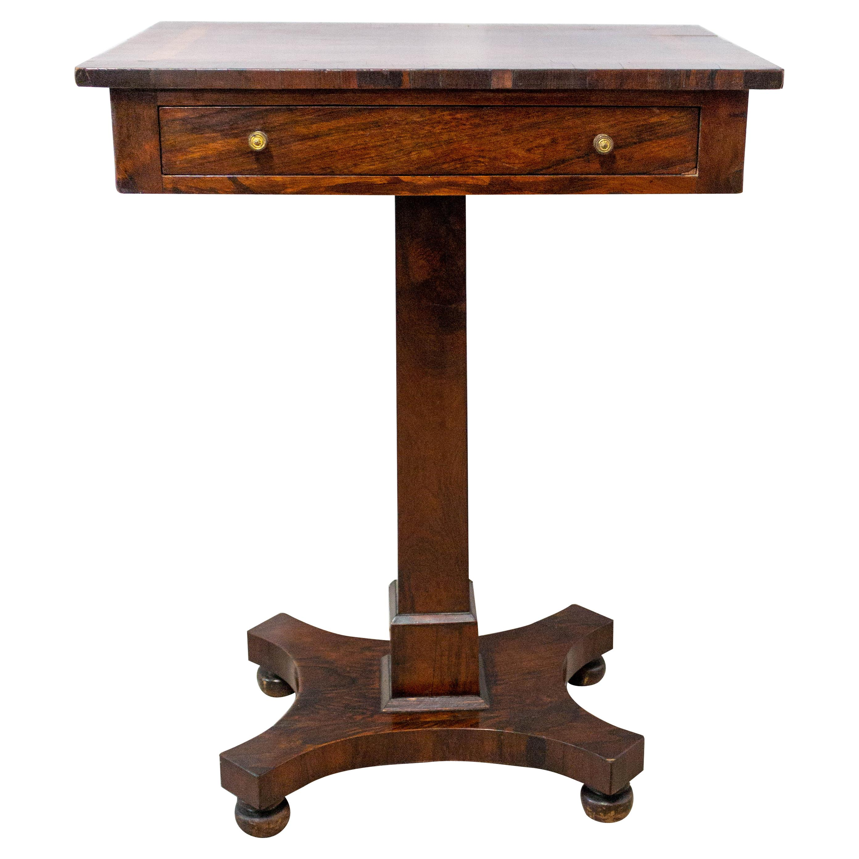 English Victorian Marquetry Sellette Side Table, Mid-19th Century