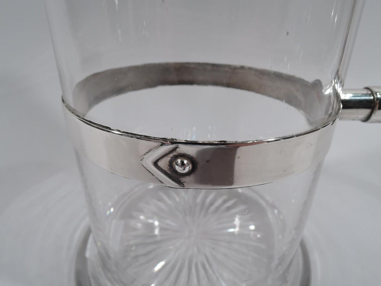 English Victorian Modern Sterling Silver Decanter in Christopher Dresser Style For Sale 2