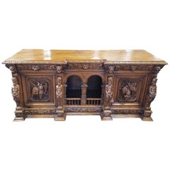 English Victorian Oak Jacobean Style Credenza