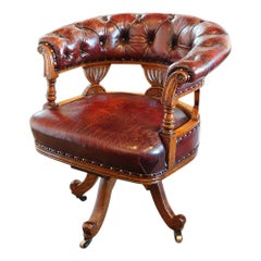 English Victorian Oak Leather Deep Buttoned Swivel Desk Office Chair, circa 1880