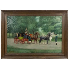 English Victorian Oil Painting of Stage Coach
