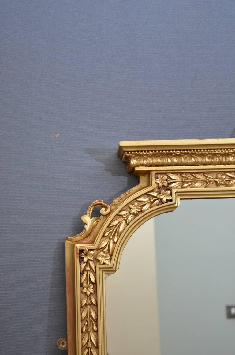 English Victorian Overmantel Mirror In Excellent Condition For Sale In Whaley Bridge, GB