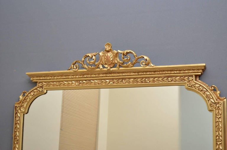 Late 19th Century English Victorian Overmantel Mirror For Sale