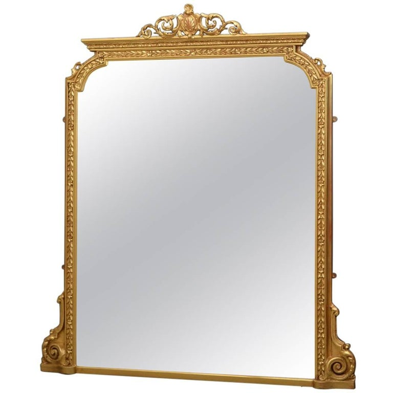 English Victorian Overmantel Mirror For Sale