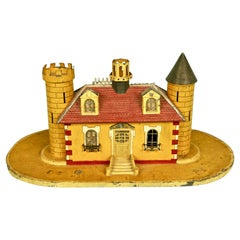 English Victorian Painted Tin Coin Bank in the Form of a Castle