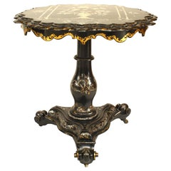 English Victorian Papier-Mâché and Pearl Inlaid Pedestal End Table