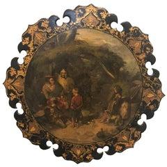 English Victorian Papier Mâché Painted Plaque