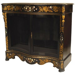 English Victorian Papier Mâché Pearl Inlaid Cabinet