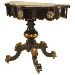 English Victorian Papier Mâché Pearl Inlaid Flip Top Console Table