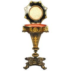 Englischer viktorianischer Pappmaché Nähtisch mit Perlen-Intarsien