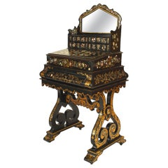 English Victorian Papier Mache Pearl Inlaid Black Lacquered Vanity