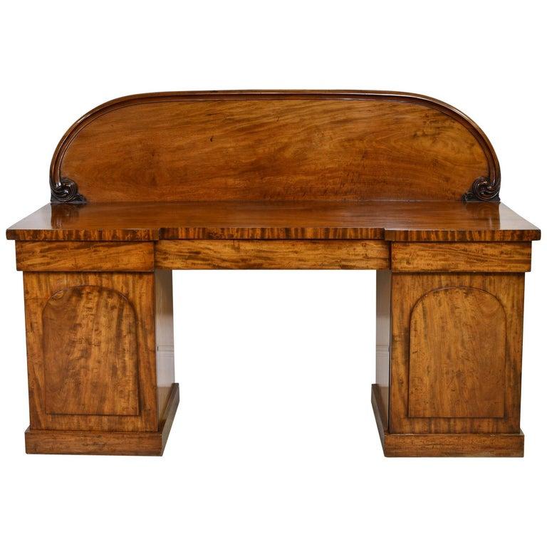 English Victorian Pedestal Base Sideboard in Mahogany, circa 1850 For Sale