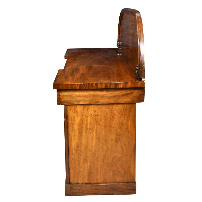 Polished English Victorian Pedestal Base Sideboard in Mahogany, circa 1850 For Sale