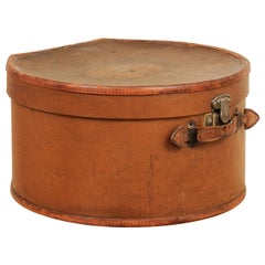 English Victorian Period First Class Travel Leather Hat Box, circa 1850