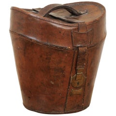 English Victorian Period Leather Hat Box with HB Monogram, circa 1870
