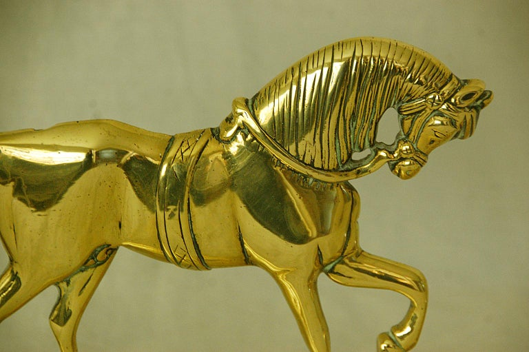 19th Century English Victorian Period Pair of Brass Horse Doorstops For Sale