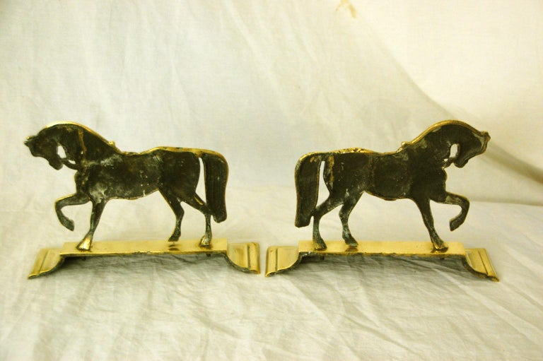 English Victorian Period Pair of Brass Horse Doorstops For Sale 1
